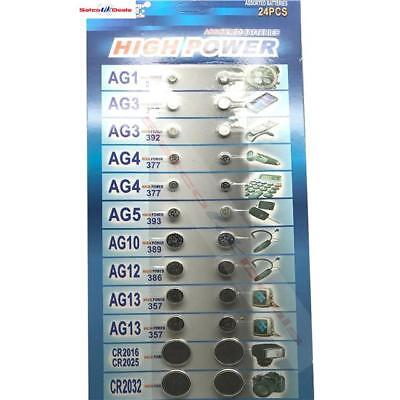 24 X ASSORTED Watch Cell BATTERY Batteries Jewellery AG1, AG3, AG4, AG5, AG10, A