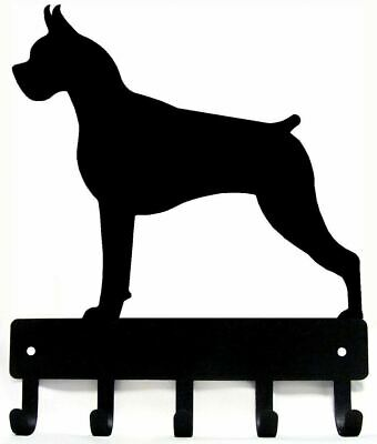 "BOXER DOG Dog Leash hanger Key Rack holder 5 hooks, Made USA, Metal SM 6"" wide"