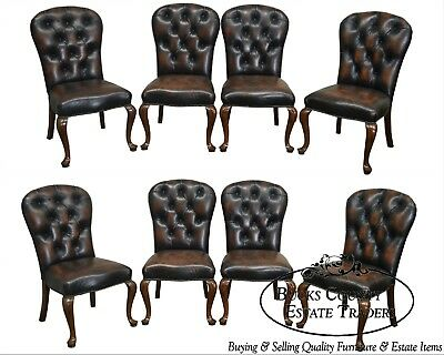 Quality Set of 8 Tufted Leather Dining Chairs