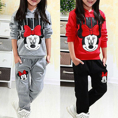 2Pcs Kids Girls Minnie Winter Tracksuit Hooded Hoodie Tops + Pants Outfit Set