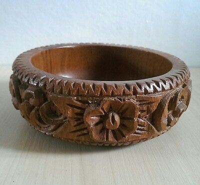 Beautiful Decorative Vintage Wooden Bowl Floral Wood Retro Container Pattern