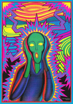 Lot Of 2 Posters :Art:  The Scream - Blacklight  - Free Shipping   #Bl7 Rw15 P