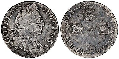 1697 William III sixpence  Great Britain silver coin