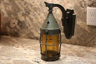 Gothic Arts and Crafts copper lamp antique original glass revival lantern light