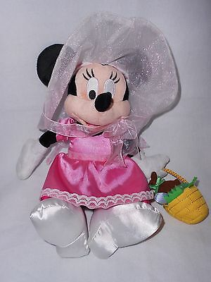 Disney Parks Easter Parade Minnie Mouse Plush Stuffed Animal Pink Dress Basket
