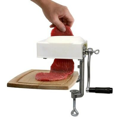 Sportsman Aluminum Meat Tenderizer And Cuber Clamp on Countertop Hand Crank