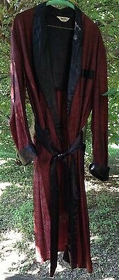 1940s Brocade Robe Smoking Jacket Mens L Regal Robes Costume Theater Prop AS-IS