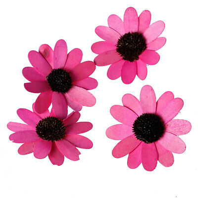 Craft - 9.5x9.5cm Fuchsia Pine Wood Sun Flower Decorations - 10Pcs