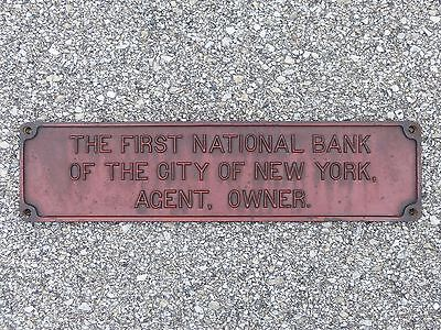 First National Bank The City Of New York Agent Owner Cast Iron Plaque Manhattan