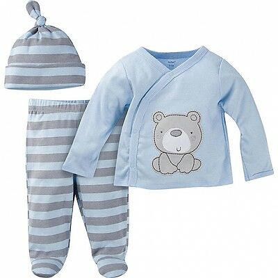 Gerber Baby Boys NEW 3 Piece Take-Me-Home Outfit Various Sizes Striped Bear