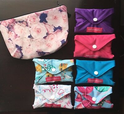Cloth Pad Pack - Reusable Menstrual Pads x 6 supersoft plus FREE BAG