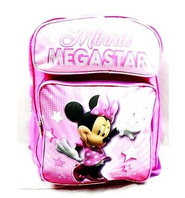 "Disney Minnie Mouse Megastar Girls 16"" Canvas Pink School Backpack"