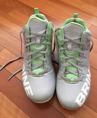 Brine Empress womens lacrosse cleats Sz 9 grey (silver) with mint green