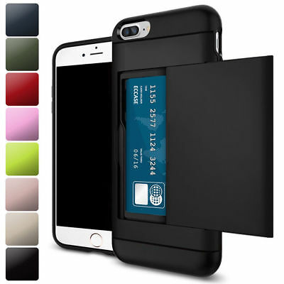 For iPhone X 6S 7 8 Plus Shockproof Wallet Credit Card Pocket Holder Case Cover