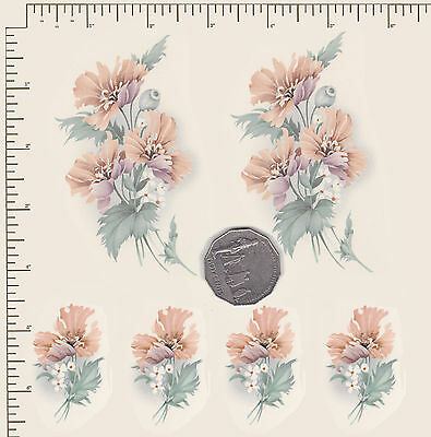 6  x Waterslide ceramic decals Flowers Pastel floral Flowers 2 sizes PD874