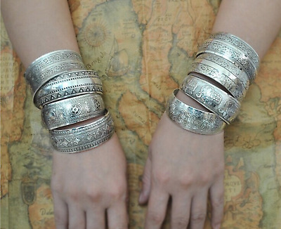 Turkish Festival Gypsy Bohemian Indian Hippy Antique Silver Colour Carved Bangle