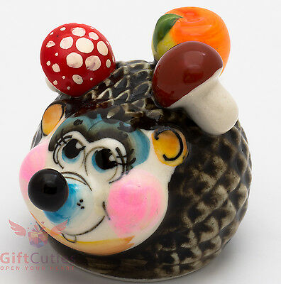 Russian Gzhel porcelain Hedgehog with mushrooms & apple figurine handmade