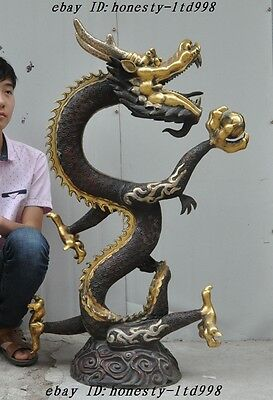 "40""Old China Fengshui bronze gilt Animal Dragon Play Bead Lucky Statue Sculpture"
