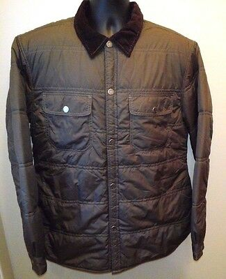 Tommy Hilfiger Large Men's Quilted Pattern Jacket Brown with Orange Lining