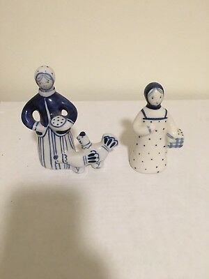 Handmade Russian Porcelain Gzhel Blue and White Figures - Set of Two (2)