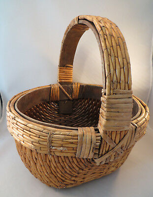 Antique Chinese Woven Reed Rattan Basket China