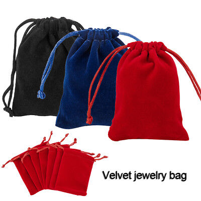 50 Red/Black/Navy Velvet Wedding Square Jewellery Pouches Party Favour Gift Bags