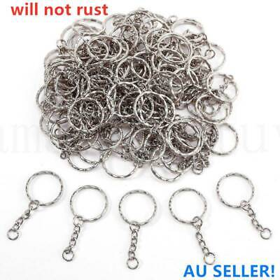 20/40/60pcs Keyring Blanks Silver Key Chains Findings Split Rings 4 Link Chain
