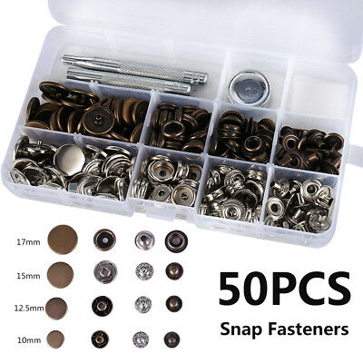 50 X Heavy Duty Snap Fasteners 10/12.5/15/17mm Press Studs Kit Buttons W Tool