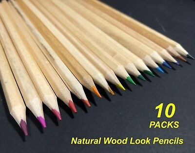 Bulk 10 Packs x 16 Coloured Pencils Natural Wood Look Colour
