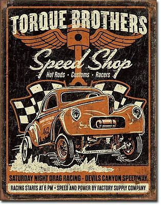 Torque Brothers Speed Shop Tin Sign Hotrod Custom Garage Shed Rustic