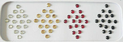 4 mm 128 Small Size Silver Gold Red Black Clear Crystal Round Plain Bindi Jewel