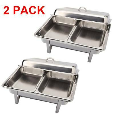 New 1x2 PACK STAINLESS STEEL CHAFING DISH SETS WITH 2 EXTRA FOOD PANS & SPOONS