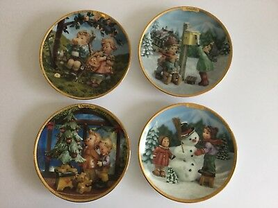 "Set of 4 Hummel Goebel Seasons Of Joy Limited Edition 5 3/4"" Calendar Plates"