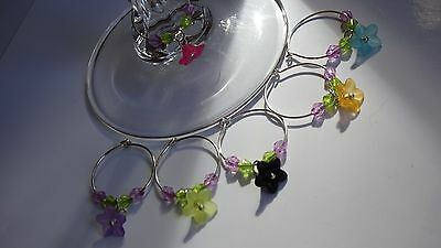 Wine Glass Charms - set of 6 - flower
