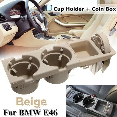 Center Console Coin Storage Box & Cup Drink Holder Beige 51168217953 For Bmw E46