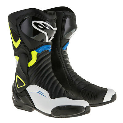 Alpinestars SMX 6 V2 Black / White / Fluo Yellow / Blue Racing Boots | All Sizes