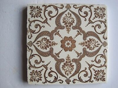 Antique Victorian Wedgwood Floral Transfer Print Wall Tile  C1878 -1900 T559