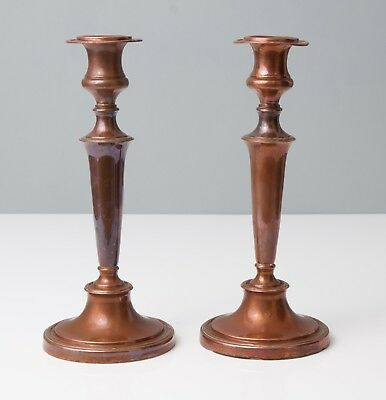 """Pair of Antique early 19th Century Copper 12"""" Candlesticks with Drip Pans"""