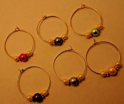 Wine Glass Charms - set of 6 - Gold with glass pearls