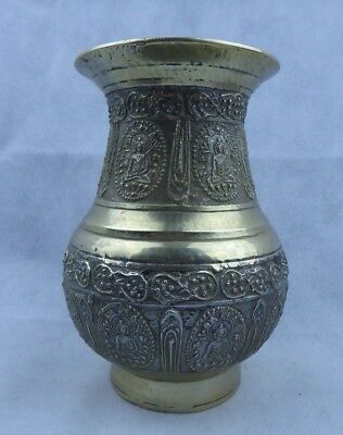 Nepalese antique Bronze Ceremonial Amkhora Vase with Buddhist Designs Fine