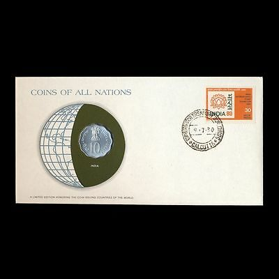 India 10 Paise 1979 Fdc ─ Coins Of All Nations Uncirculated Stamp Cover Unc Le