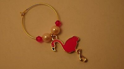 1 x Wine Glass Charm - gold plated - PINK FLAMINGO