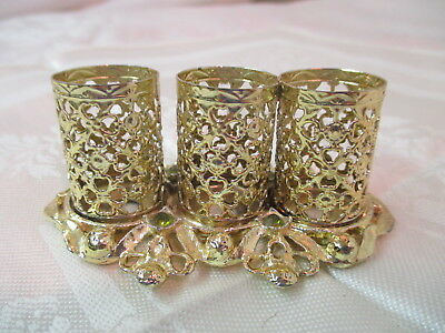 Vintage gold gilt Filigree Lipstick Holder 3 tubes with Rhinestones