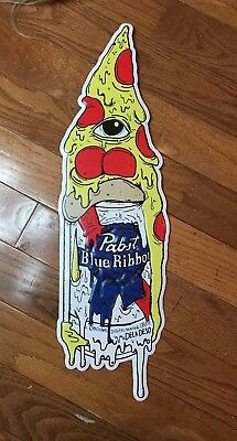 "PBR Pop ART Pabst Blue Ribbon Beer ~ PIZZA Sign Tacker ~ Artist DELA DESO 24""x7"""