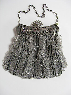 Very Nice Victorian Grey & Black Micro Beaded Purse with Fancy Metal Frame