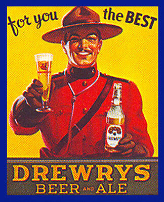 DREWRY'S BEER AND ALE MOUNTIE DESIGN  BEER LABEL T SHIRT Small - xxxlarge