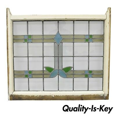 Antique Stained Glass Window Architectural Salvage Blue Yellow Green 31 x 34.5