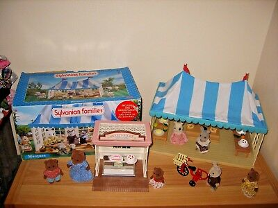 sylvanian families boxed village marquee,cake store,accessories,figures,bundle