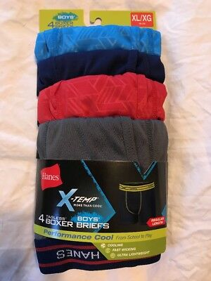 "4-Pack Hanes X-Temp Boxer Briefs Performance Cool Waist Size 29.5-32.5"" Boy's XL"