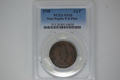 1760 Voce Populi Halfpenny- PCGS VF-20.  P at Face.  Nice chocolate brown.